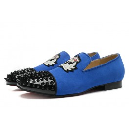 Christian Louboutin Harvanana Mocassins Homme Bleu Noir Spikes