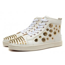 Christian Louboutin Baskets Homme Bubble Spike Multi Blanc Or