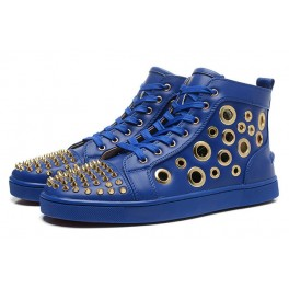 Christian Louboutin Baskets Homme Bubble Spike Multi Bleu Or