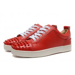 Christian Louboutin Baskets Homme Spikes Cuir Rouge