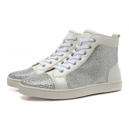 Christian Louboutin Baskets Homme Louis Veau Velours Strass COLOMBE