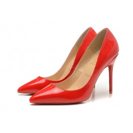 Nouvel Christian Louboutin 100mm Escarpins Femmes Decollete 554 Vernis Rouge
