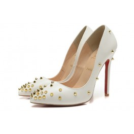 Escarpins 2015 Nouvel Christian Louboutin 120mm Femme Cuir Blanc Or Spikes