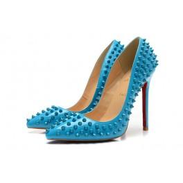 Nouveau Escarpins Femme Christian Louboutin 120mm Verni Spikes Bleu Ciel