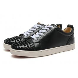 Baskets Christian Louboutin Homme Femme Chaussures Cuir Noir Spikes