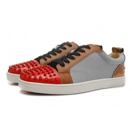 Baskets Christian Louboutin Homme Femme Chaussures Gris Rouge Spikes
