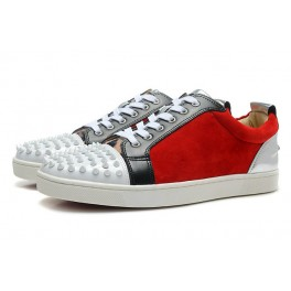 Chaussures Couple Baskets Christian Louboutin Daim Rouge Blanc Spikes