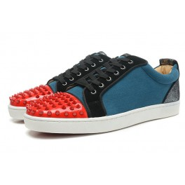Chaussures Couple Baskets Christian Louboutin Bleu Rouge Spikes