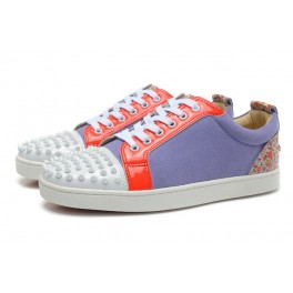 Christian Louboutin Baskets Pour Couple Violet Rouge Blanc Spikes