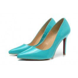 Escarpins Christian Louboutin Decollete 554 Vernis 100mm Bleu