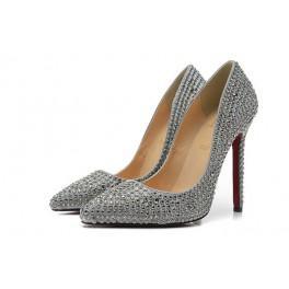 Escarpins Neuf Christian Louboutin 12cm Chaussures Strass Gris