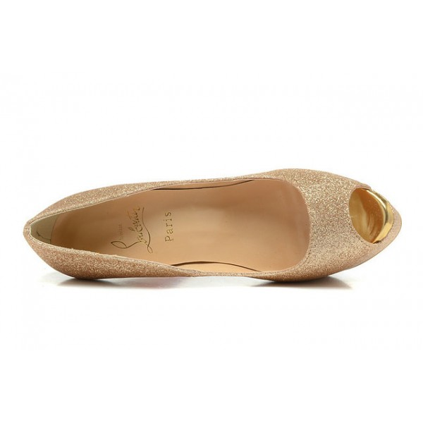 christian louboutin toe escarpins de mariage 140mm plates formes dore. Black Bedroom Furniture Sets. Home Design Ideas