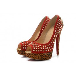Toe Escarpin Christian Louboutin Plates-formes 140mm Rouge Leopardino