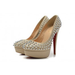 Christian Louboutin 140mm Plates-formes Bianca Femme Beige Spikes
