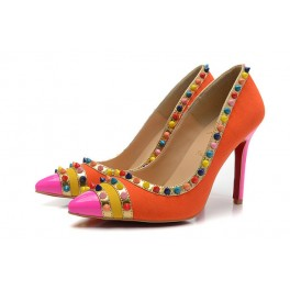 Escarpins Christian Louboutin 100mm Daim Spikes Femme Orange Muti-couleur
