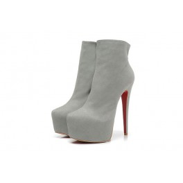 Bottines Christian Louboutin Daf Booty Veau Velours 160mm Gris