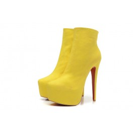 Bottines Christian Louboutin Daf Booty Veau Velours 160mm Jaune