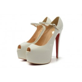Christian Louboutin Mary Jane Pompe 160mm Toe Escarpin Blanc