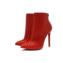 Booty Christian Louboutin Bottines 120mm Femme Cuir Spikes Rouge