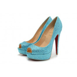 Toe Escarpin Christian Louboutin Plates-formes Femme 140mm Strass Bleu