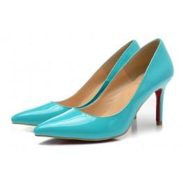 Sexy Chaussures à talon haut Christian Louboutin Escarpins 80mm pigalle vernis bleu