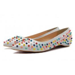Escarpin Christian Louboutin Plats Pour Femme Muti-coloré Spikes Blanc