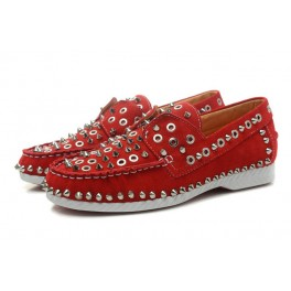 Chaussures Christian Louboutin Mocassin Femme Cuir Spikes Rouge
