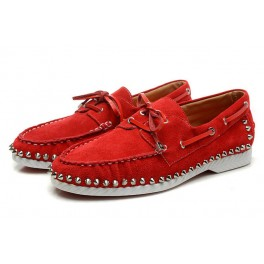 Nouveau Chaussure Christian Louboutin Mocassin Cuir Spike Rouge