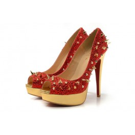 Christian Louboutin Toe Escarpins de Mariage 140mm Plates-formes Rouge Dore Spikes